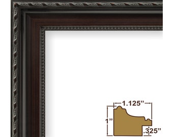 Contemporary Walnut Brown Picture Frame With Raised Inner