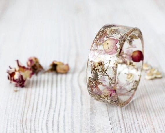Dried flowers - Epoxy resin bracelet - Mix Real flower Bracelet