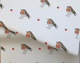 Robin, wrapping paper, gift wrap, for robin lovers, for bird watchers, robins, birds, read description