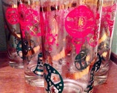 Mid Century Modern Collins Glasses Set of Six with Festive Christmas Graphics / Vintage Holiday Barware