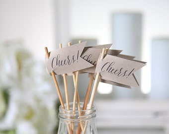 Cheers / Drink Stirrers / Drink Tags / Flags / Wedding Drink Tags / New Years