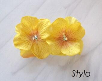 Golden yellow Flower bobby pin Hair Clip