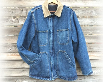Vintage Denim Barn Coat, Dickies Faded Blue Denim with Quilted Lining, Men's size S to M