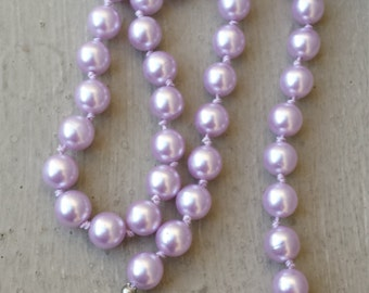 """Knotted Lavender Pearl 18"""" Single Strand 18 Inch Necklace, Lavender Purple Knotted Pearl Maid of Honor Flower Girl Bride Wedding Necklace"""
