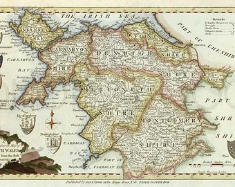 North Wales 1786. Antique map of North Wales, by Thomas Kitchin - MAP PRINT.