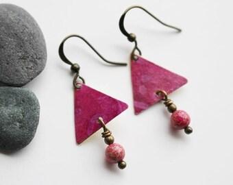 Pink Mixed Media Earrings, Mixed Media Jewelry, Recycled Repurposed, Gemstone Earrings, Bohemian Earrings, Tie Dye, Hippie Earrings