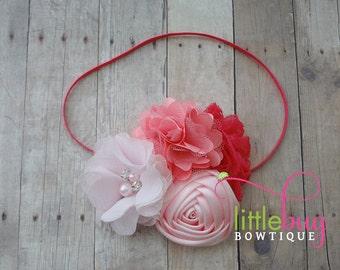 Hot Pink Baby Pink Silk Lace Salmon Chiffon Flowers Skinny Headband Photo Prop - Girls, Teens, Newborns, Babies, Adults