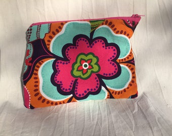 Cotton zipper pouch - Pink and Orange Flowers