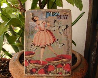 Victorian fairy & butterflies,wooden sign,vintage style image,sealed onto wooden tag