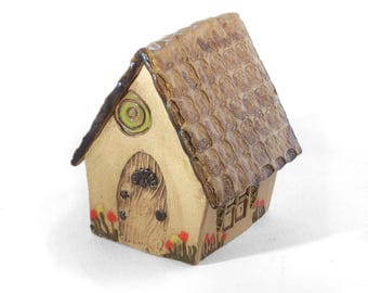 Square Fairy House with Red Flowers