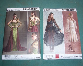 Simplicity 8363 or Simplicity 8362..Misses Lace Blouse and Skirt...alternative Wedding Dress...Fantasy Ranger Cosplay Costumes..