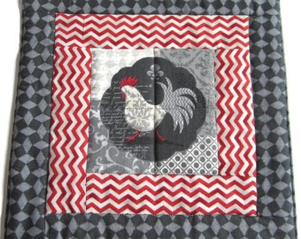 Rooster Hot Pad, Wedding Gift, Hostess Gift, Gift for Baker, House Warming Gift, Fabric Hot Pad, Red/Gray Hot Pad, Wedding Shower Gift