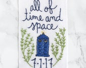 all of time and space TARDIS embroidery