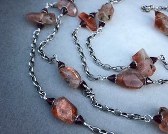 Sunstone, Garnet Gemstone Sterling Chain Necklace