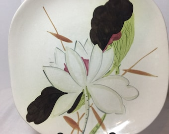 Vintage Redwing Handpainted Lotus Square Dinner Replacement Plate