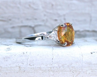 Vintage Diamond and Yellow Sapphire Three Stone Ring Engagement Ring in 14K White Gold.
