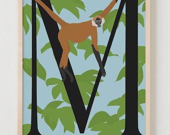 Animal Alphabet, M is for Monkey Fine Art Print