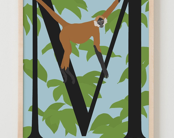 Animal Alphabet, M is for Monkey Fine Art Print