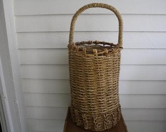tall woven basket with handle, tall basket, ethnic basket, tribal, Bohemian basket, rattan basket