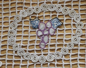 French crochet cloth with embroidered grape appliques