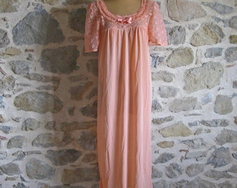 Peach nylon long nightie with lace short sleeves size large