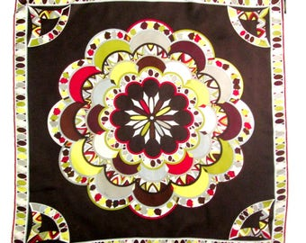 """Emilio Pucci Scarf Fuilio Abstract Geometric Mod Kaleidoscope 34"""" Square Scarf Brown Chartreuse Wrap Scarves"""