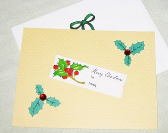 Vintage Tag & Holly Christmas or Yule Handmade Card - Handmade Cards