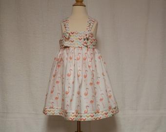 Coral Famingo sun dress,toddler dress,coral sundress,knot dress,girls sundress