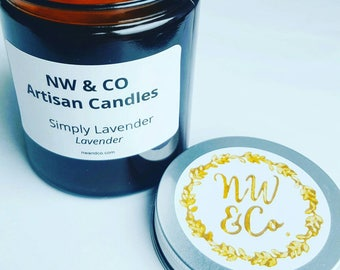 NW &Co, Simply Lavender natural wax candle.  180ml Amber Apothecary Glass Jar