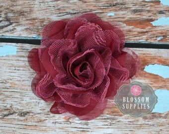 BURGUNDY Flowers - The Charlotte Collection - Small Shabby Chiffon and Lace Puff Flowers - DIY Headbands - Fabric Flower Head Blossom Craft