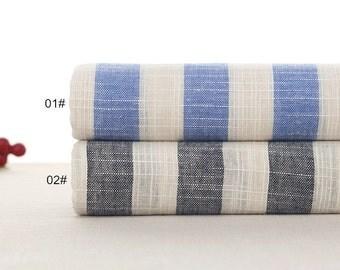 Bamboo Grain Yarn-dyed,Cotton Linen Fabric for craft, Blue/Grey Stripe linen fabric, Translucent Soft,Linen Fabric 1/2 yard (QT1111)