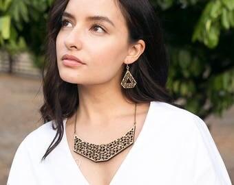 Statement necklace - Aztec inspired necklace - eco friendly jewelry - laser cut necklace - unique necklaces - Australian
