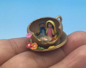 Teacup Miniature Nativity.Mary,Joseph and baby Jesus.