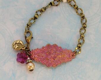 Rosy pink and gold boho cuff bracelet, vintage style hand painted antique brass pearl rhinestone chain bracelet, swarovski flower charm cuff
