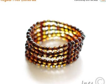 15% OFF Baltic Amber Bracelet Made of Tiny Faceted Round Amber Beads
