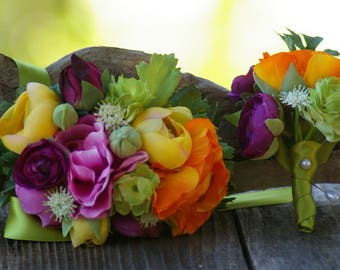 Rainbow Colorful Electric Corsage  or Boutonniere Neon Fiesta ranunculus anenome yellow green purple