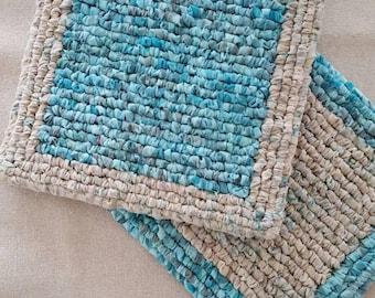 Set Of Two Batik Pot Holders, Fabric Trivet Set, 7.75 x 7.5 Inch Hot Mats, Turquoise, Gray, Tan