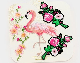 Flamingo Set of 5 Iron on Embroidered Patch Pink Flamingo Flower Rose