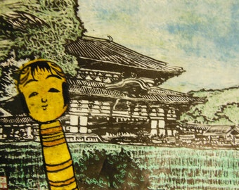 original hand carved woodblock print Moku Hanga Kokeshi Selfie at Todai-ji Daibutsu-den Temple Japan signed Clark