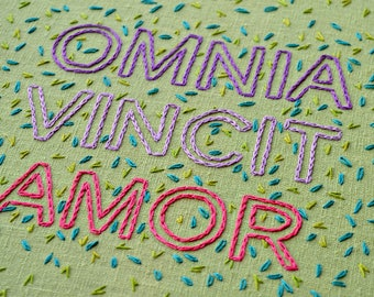 statement embroidery pattern, omnia vincit amor, plant embroidery, modern embroidery, botanical embroidery pattern, beginner embroidery