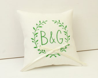 Forest wedding pillow, Green and white wedding ring pillow, Rustic Garden wedding ring bearer pillow Personalized, Fairy tale wedding pillow