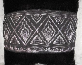 decorative pillow black velveteen metallic silver embroidered hand beaded ethnic