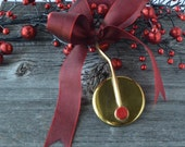 Saxophone Key Ornament with Wine Ribbon