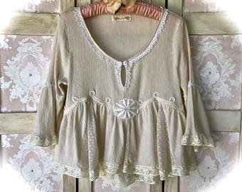 Cottage Gauze and Lace Boho Peasant Top Size Small