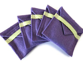 5 x Lilac Felt Pouch With Small Pocket Mirror- Fabric Covered Handbag Mirror - Compact Mirror with Pouch