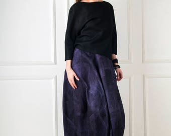 Felted Maxi Skirt Reversible Black Violet