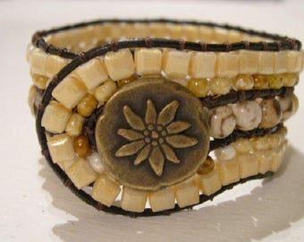 Beaded Cuff Bracelet, Beaded Leather Cuff - 919