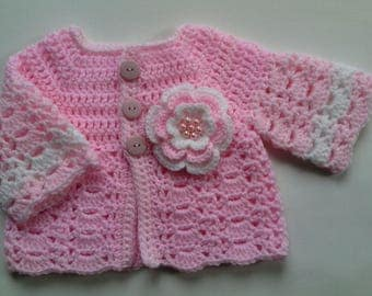 Crochet baby sweater coat cardigan baby gift, baby shower, photo prop
