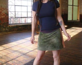 Eco friendly Hand dyed Hemp organic Moss mini-skirt blue green small-medium