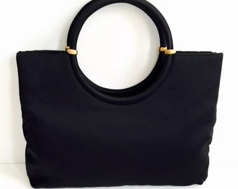 Vintage 1950's Mid Century Black Ingber Double Round Handle Purse